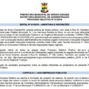 Inscrições abertas para o Processo Seletivo da Prefeitura Municipal de Arroio Grande
